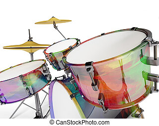 Closed drum set - Drum set multicolored seen up close with...