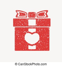 Icon red gift box with bow, covered in white grit