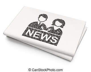 News concept: Anchorman on Blank Newspaper background - News...