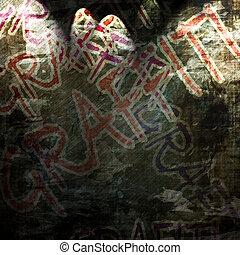 graffiti - Grunge wall with some graffiti on it
