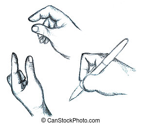 Hand-drawn Hand and Finger Signs - An illustration of...