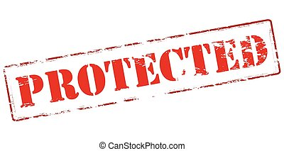 Protected - Rubber stamp with word protected inside, vector...