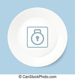 Empty white plate with lock.
