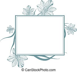 Lily Flower Vintage Frame - One colored Abstract Vintage...