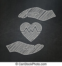 Insurance concept: Heart And Palm on chalkboard background -...