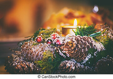 Christmas and New Year Wreath With Candle