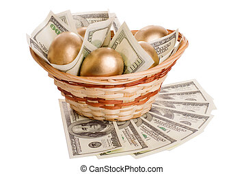 golden eggs and dollars in a basket isolated on white...