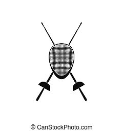 Fencing swords and helmet mask icon - Fencing swords and...