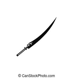 Japanese sword black simple icon isolated on white...