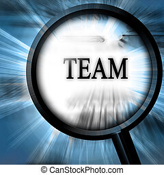 team on a blue background with a magnifier