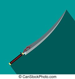 Japanese sword flat icon on a blue background