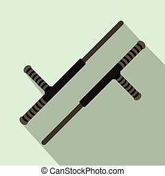 Tonfa weapon flat icon on a light blue background