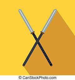 Japanese kendo sword flat icon on a yellow background