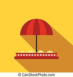 Children sandbox with red umbrella flat icon