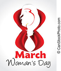 Eight March Womans Day background with lady - Eight March...