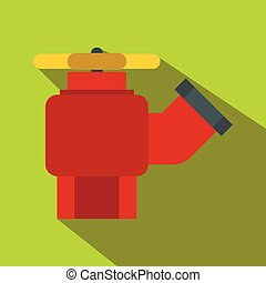 Fire hydrant with valve flat icon