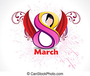 Eight March Womans Day background vector illustration