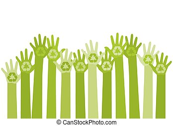 abstract illustration with raising hands with a recycle symbol. eco friendly design template. care of environment concept