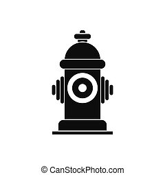 Fire hydrant black simple icon isolated on white background