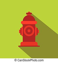 Fire hydrant flat icon on a green background