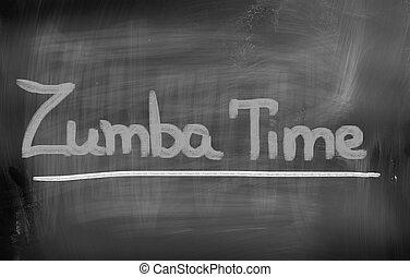 Zumba, tiempo, concepto,