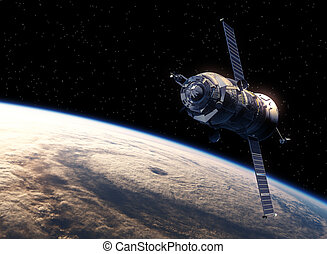 Cargo Spacecraft Orbiting Earth Realistic 3D Scene