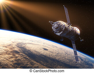 Spacecraft In The Rays Of Sun. 3D Scene.