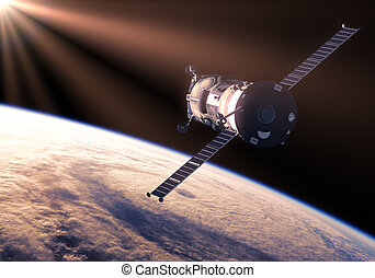Cargo Spacecraft In The Rays Of Sun 3D Scene
