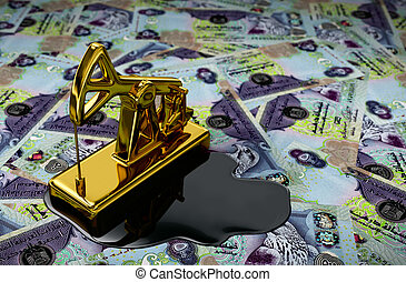 Gold Pumpjack And Spilled Oil On United Arab Emirates Dirham...