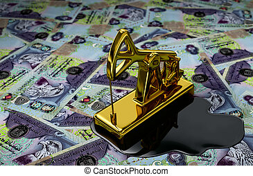 Pumpjack On Saudi Saudi Riyals - Gold Pumpjack And Spilled...
