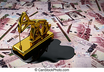 Gold Pumpjack And Spilled Oil On Saudi Riyals. 3D Scene.