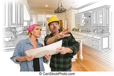 Contractor Talking with Customer Over Kitchen Drawing and Photo Combination