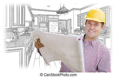 Contractor Holding Blueprints Over Custom Kitchen Drawing