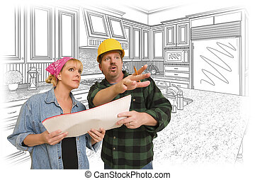 Contractor Talking with Customer Over Kitchen Drawing