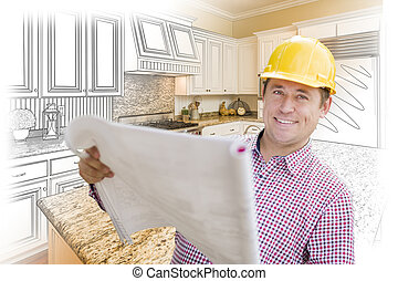 Contractor Holding Blueprints Over Custom Kitchen Drawing and Photo