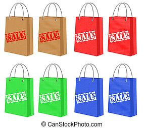 Shopping Paper Bags With Sale Signs - Set of Different...