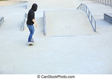 skateboarding at skatepark