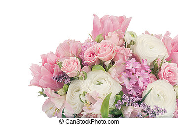 Amazing flower bouquet arrangement in pastel colors isolated...