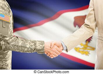 Stati Uniti, militare, uomo, in, uniforme, e, civile, uomo,...
