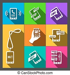 Vector smart phone icons on Colorful background