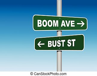 Boom Avenue Bust Street Road Signs