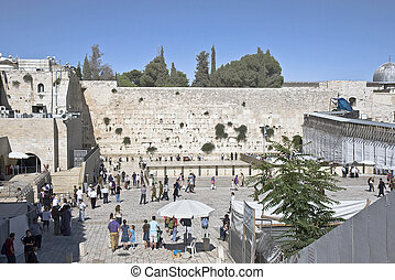 Western Wall Plaza - ordinary people visiting the Western...