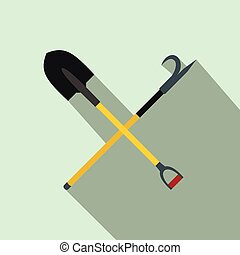 Shovel and scrap flat icon on light blue background