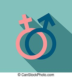 Male and female signs flat icon