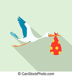 Flying stork with a bundle flat icon
