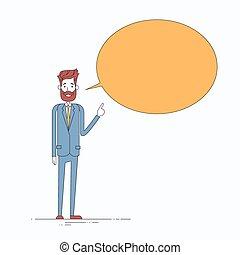 Businessman Point Finger Chat Box Bubble Copy Space Concept...