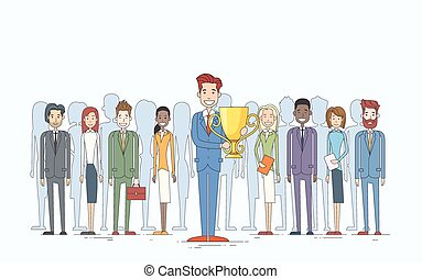 Business Man Get Prize Cup Businesspeople Group Team Leader...