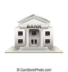 Bank building isolated on white vector - Bank building...
