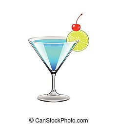 Blue lagoon cocktail isolated on white vector - Blue lagoon...