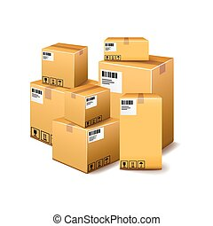 Cardboard boxes isolated on white vector